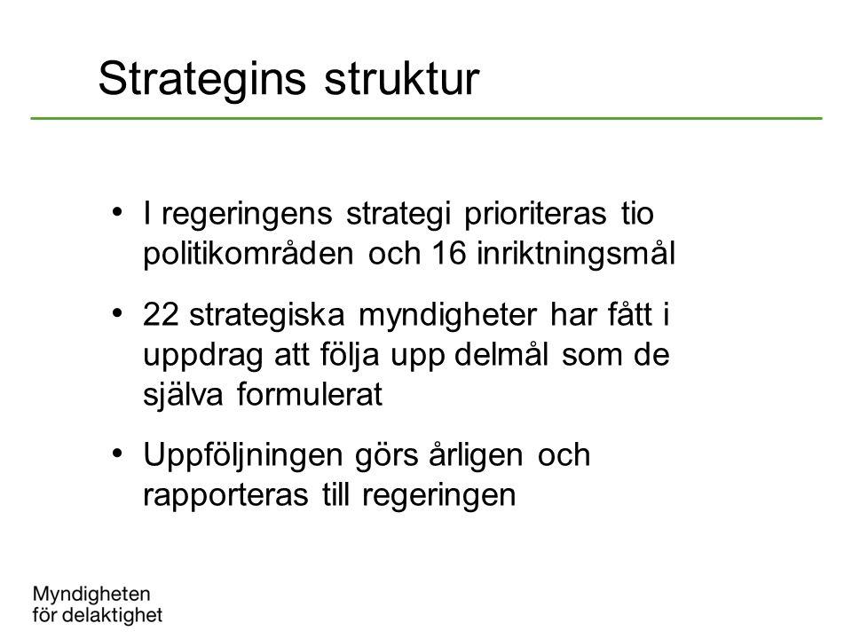 Strategins struktur I regeringens strategi prioriteras tio politikområden och 16 inriktningsmål 22 strategiska myndigheter har fått i uppdrag att följ