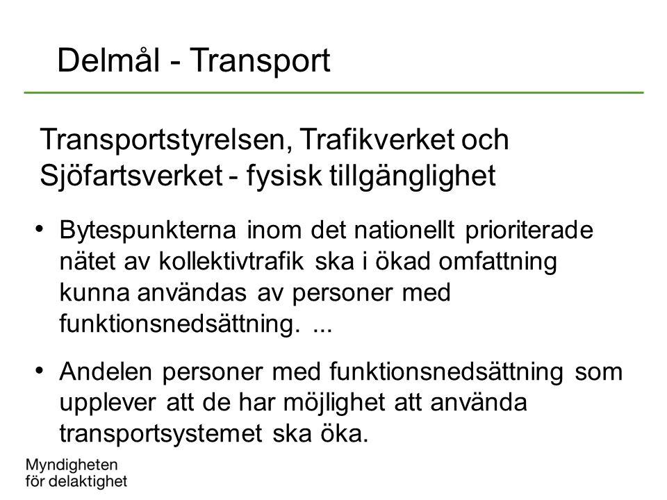 Transportstyrelsen, Trafikverket och Sjöfartsverket - fysisk tillgänglighet Bytespunkterna inom det nationellt prioriterade nätet av kollektivtrafik s