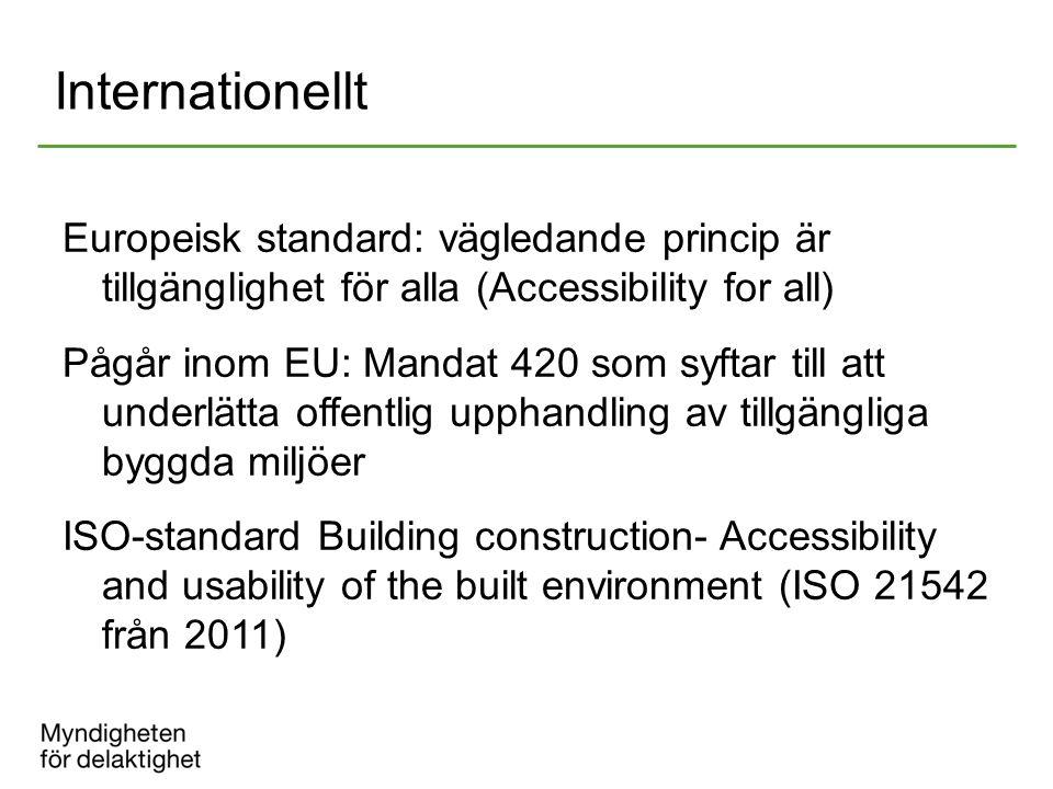 Internationellt Europeisk standard: vägledande princip är tillgänglighet för alla (Accessibility for all) Pågår inom EU: Mandat 420 som syftar till at