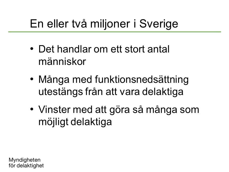 En eller två miljoner i Sverige Det handlar om ett stort antal människor Många med funktionsnedsättning utestängs från att vara delaktiga Vinster med