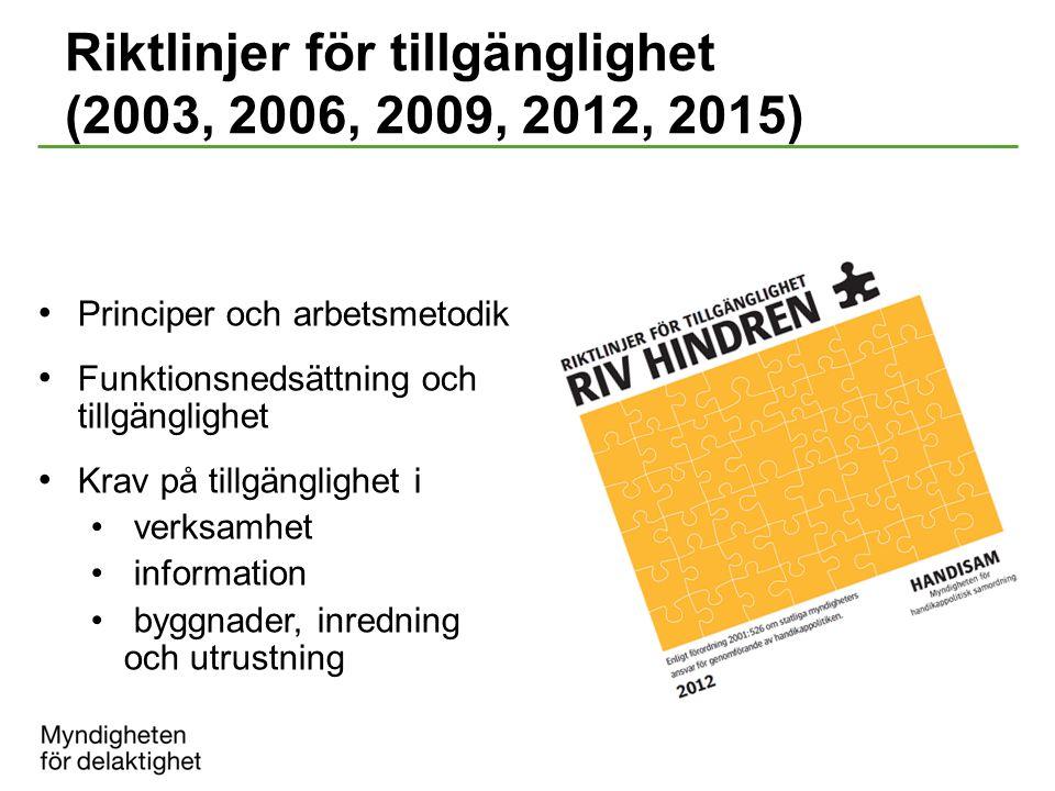 Riktlinjer för tillgänglighet (2003, 2006, 2009, 2012, 2015) Principer och arbetsmetodik Funktionsnedsättning och tillgänglighet Krav på tillgänglighe