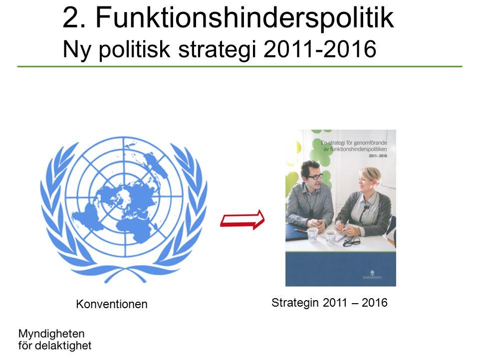 2. Funktionshinderspolitik Ny politisk strategi 2011-2016 Konventionen Strategin 2011 – 2016