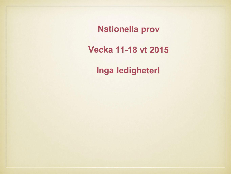 Nationella prov Vecka 11-18 vt 2015 Inga ledigheter!