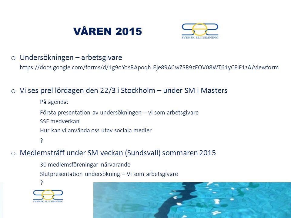 VÅREN 2015 o Undersökningen – arbetsgivare https://docs.google.com/forms/d/1g9oYosRApoqh-Eje89ACwZSR9zEOV08WT61yCElF1zA/viewform o Vi ses prel lördagen den 22/3 i Stockholm – under SM i Masters På agenda: Första presentation av undersökningen – vi som arbetsgivare SSF medverkan Hur kan vi använda oss utav sociala medier .