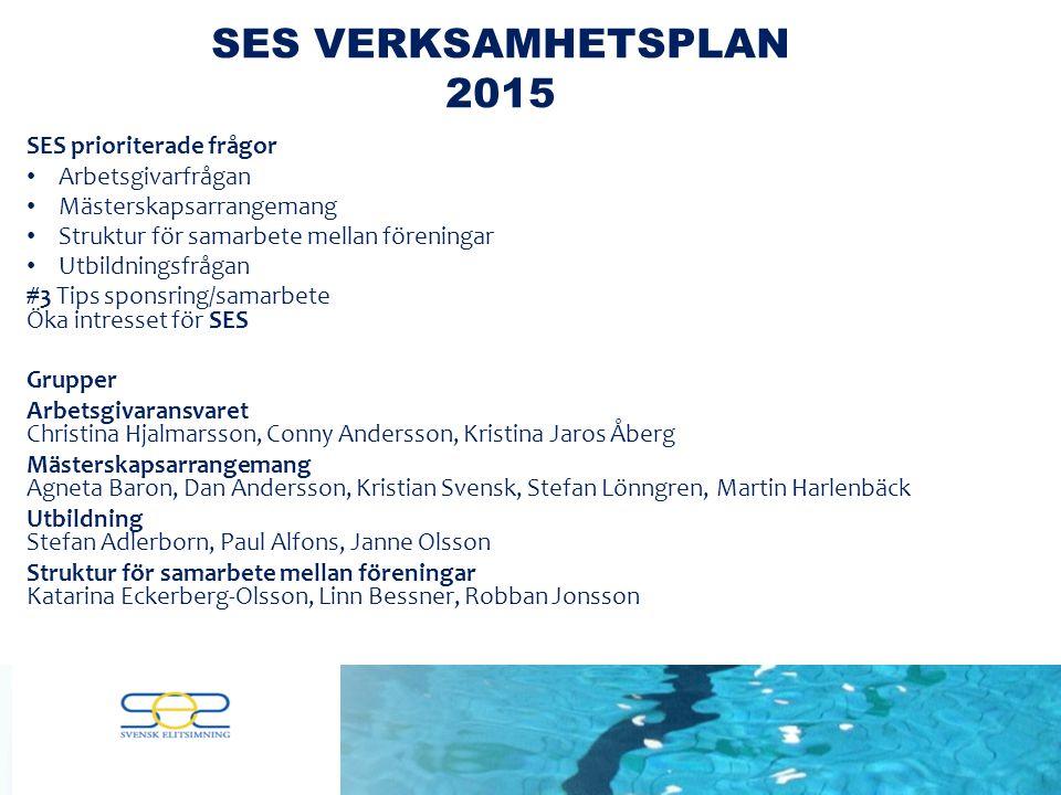 SES prioriterade frågor – Gruppdiskussioner 4 grupper Arbetsgivarfrågan Mästerskapsarrangemang Struktur för samarbete mellan föreningar Utbildningsfrågan MålVarför – Hur- VadAnsvarigaTidsplan SES VERKSAMHETSPLAN 2015