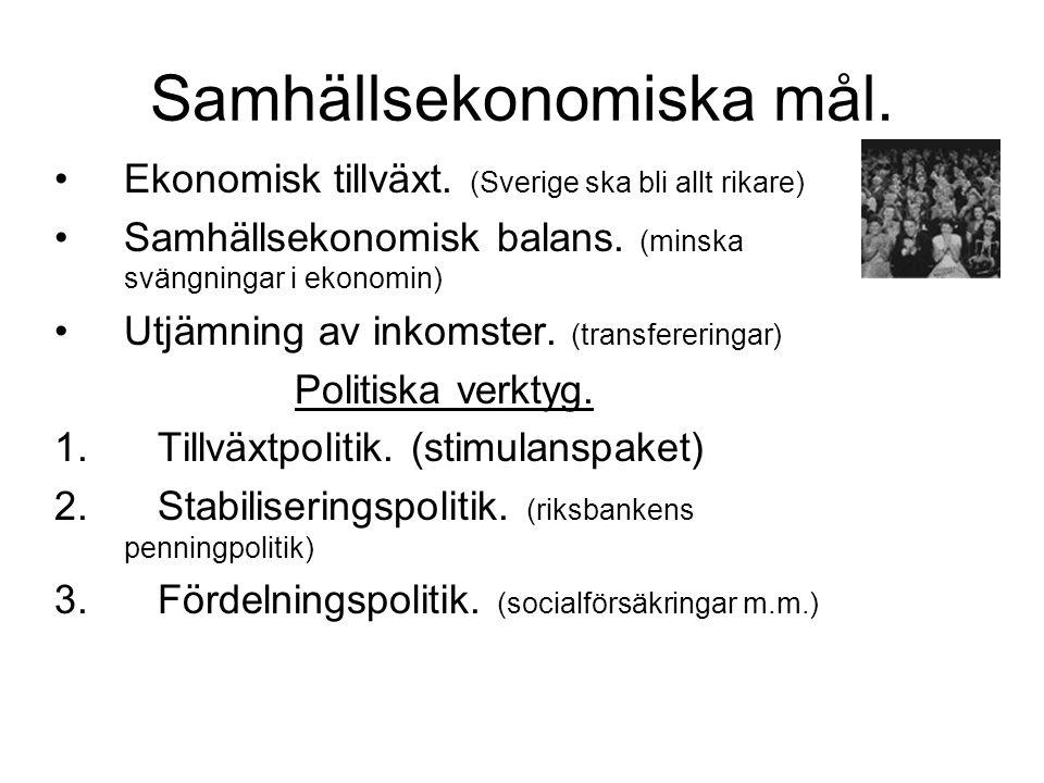 Samhällsekonomiska mål.Ekonomisk tillväxt. (Sverige ska bli allt rikare) Samhällsekonomisk balans.