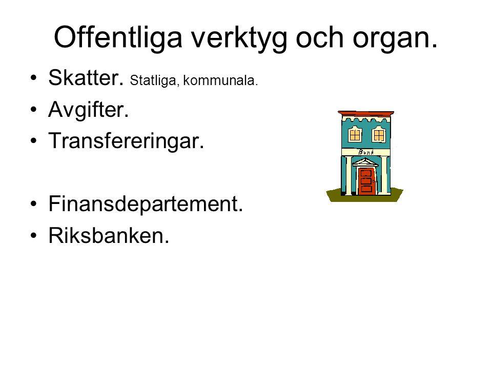 Offentliga verktyg och organ. Skatter. Statliga, kommunala. Avgifter. Transfereringar. Finansdepartement. Riksbanken.