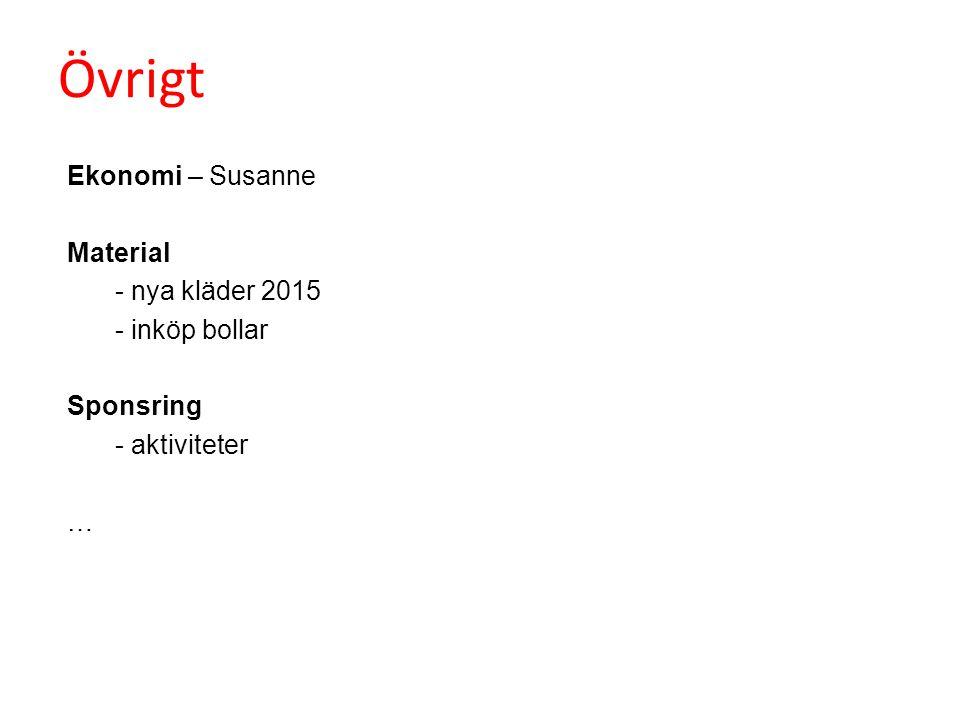 Övrigt Ekonomi – Susanne Material - nya kläder 2015 - inköp bollar Sponsring - aktiviteter …