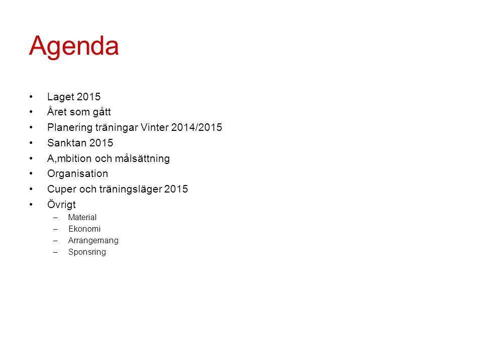 Agenda Laget 2015 Året som gått Planering träningar Vinter 2014/2015 Sanktan 2015 A,mbition och målsättning Organisation Cuper och träningsläger 2015 Övrigt –Material –Ekonomi –Arrangemang –Sponsring