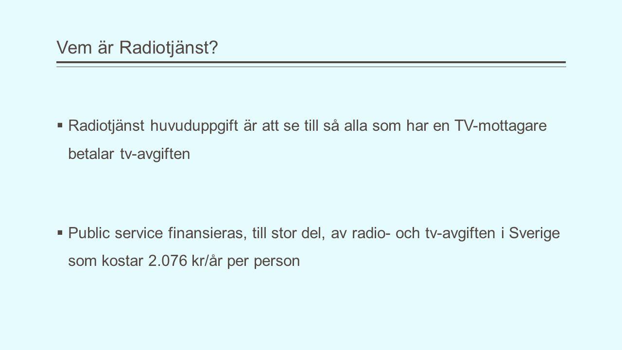 Vem är Radiotjänst?  Radiotjänst huvuduppgift är att se till så alla som har en TV-mottagare betalar tv-avgiften  Public service finansieras, till s