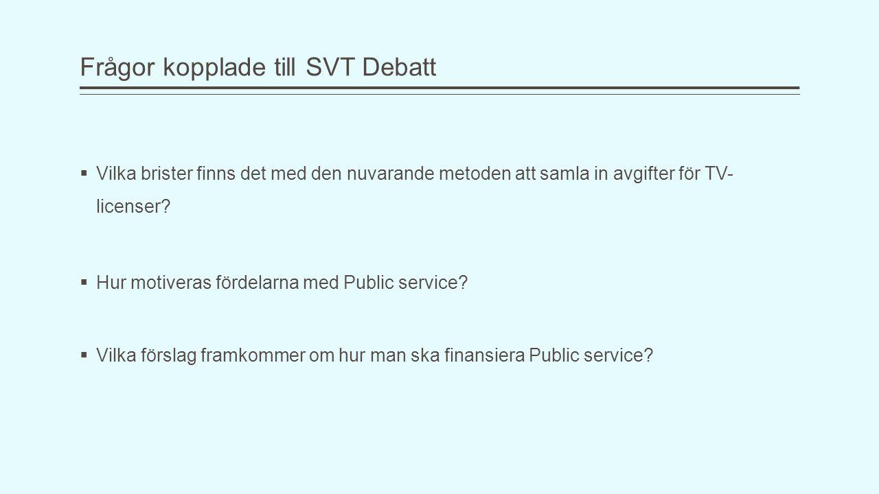 Frågor kopplade till SVT Debatt  Vilka brister finns det med den nuvarande metoden att samla in avgifter för TV- licenser?  Hur motiveras fördelarna