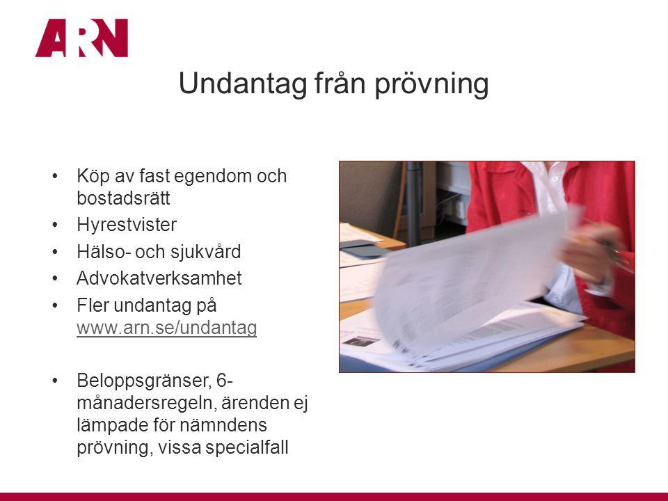 Undantag från prövning Köp av fast egendom och bostadsrätt Hyrestvister Hälso- och sjukvård Advokatverksamhet Fler undantag på www.arn.se/undantag www
