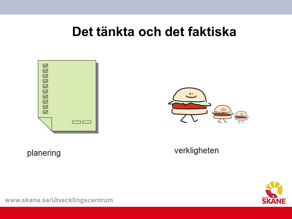 www.skane.se/Utvecklingscentrum Det tänkta och det faktiska planering verkligheten