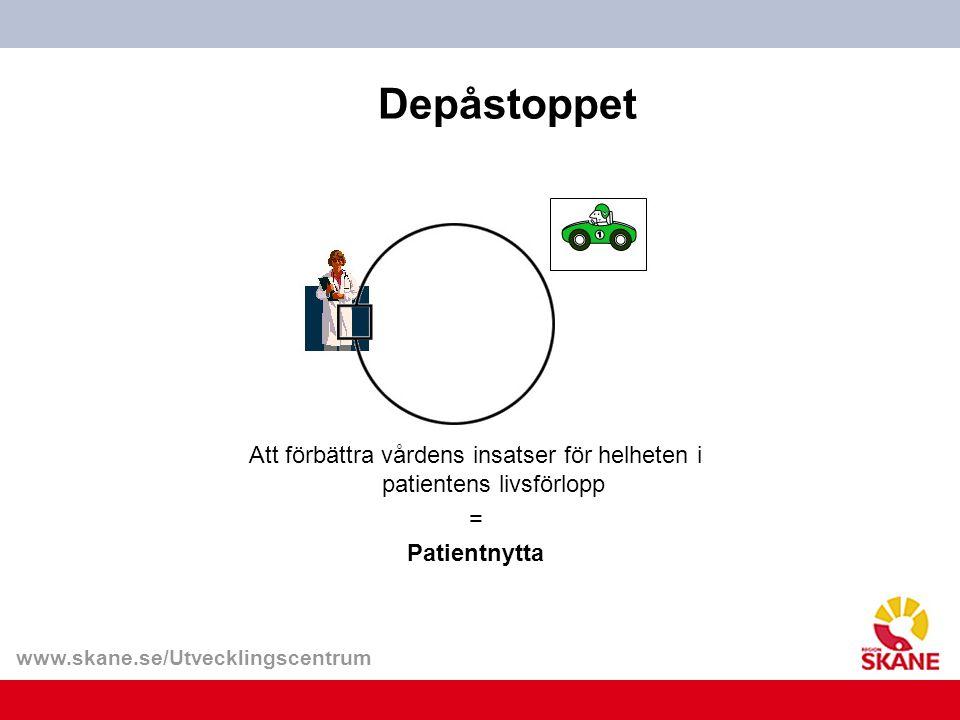 www.skane.se/Utvecklingscentrum Depåstoppet Att förbättra vårdens insatser för helheten i patientens livsförlopp = Patientnytta