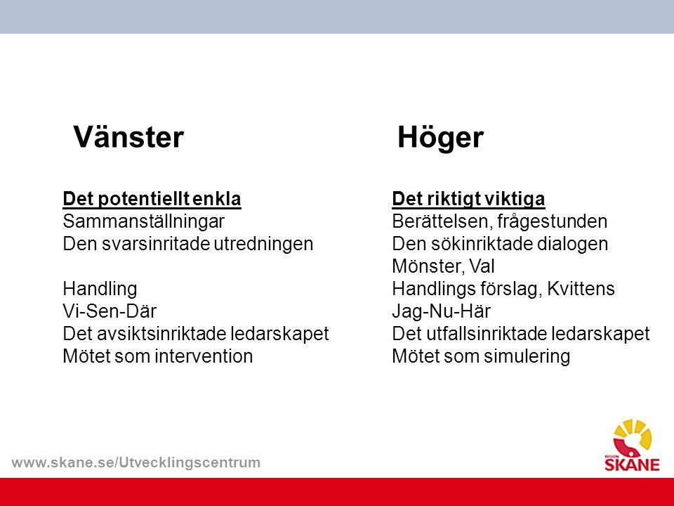 www.skane.se/Utvecklingscentrum VänsterHöger Det potentiellt enkla Sammanställningar Den svarsinritade utredningen Handling Vi-Sen-Där Det avsiktsinri