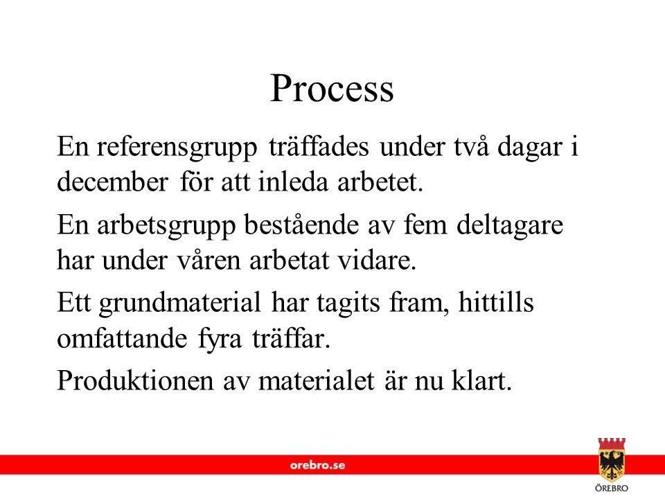 www.orebro.se Process En referensgrupp träffades under två dagar i december för att inleda arbetet. En arbetsgrupp bestående av fem deltagare har unde
