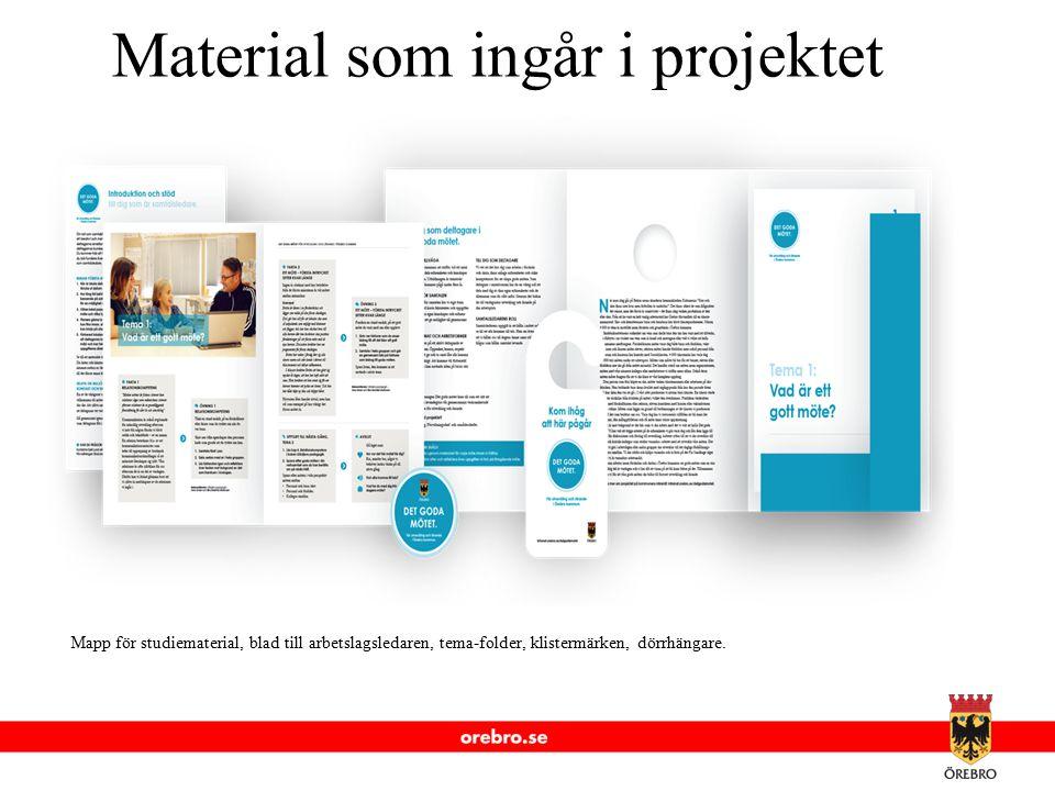www.orebro.se Material som ingår i projektet Mapp för studiematerial, blad till arbetslagsledaren, tema-folder, klistermärken, dörrhängare.