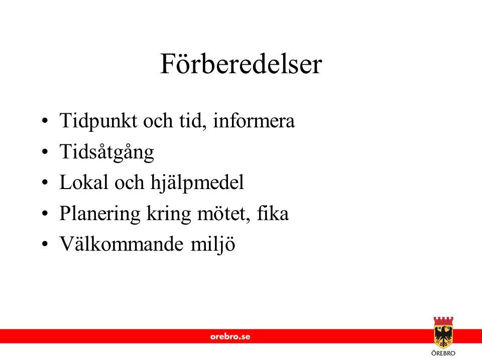 Förberedelser Tidpunkt och tid, informera Tidsåtgång Lokal och hjälpmedel Planering kring mötet, fika Välkommande miljö
