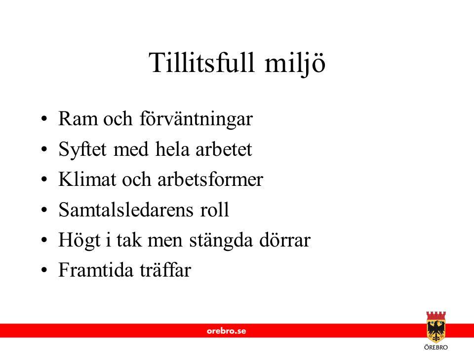 www.orebro.se Tillitsfull miljö Ram och förväntningar Syftet med hela arbetet Klimat och arbetsformer Samtalsledarens roll Högt i tak men stängda dörr