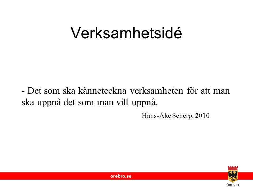 www.orebro.se Verksamhetsidé - Det som ska känneteckna verksamheten för att man ska uppnå det som man vill uppnå. Hans-Åke Scherp, 2010