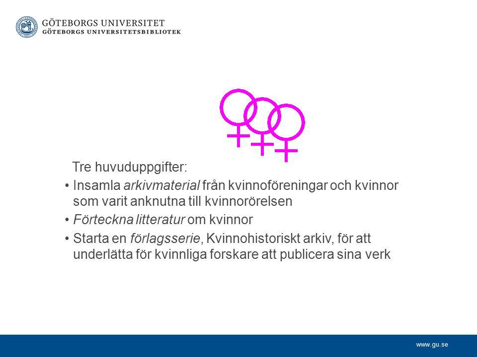 www.gu.se Förlagsserien För att underlätta utgivandet av kvinnohistoriska bibliografier och vetenskaplig litteratur om kvinnor startades förlagsserien Kvinnohistoriskt arkiv.