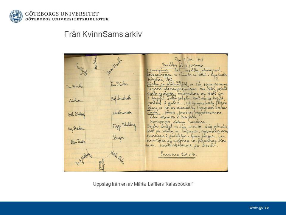 www.gu.se Från KvinnSams arkiv Uppslag från en av Märta Lefflers kalasböcker