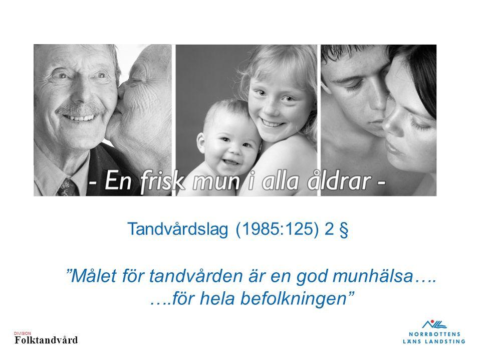 """DIVISION Folktandvård Tandvårdslag (1985:125) 2 § """"Målet för tandvården är en god munhälsa…. ….för hela befolkningen"""""""