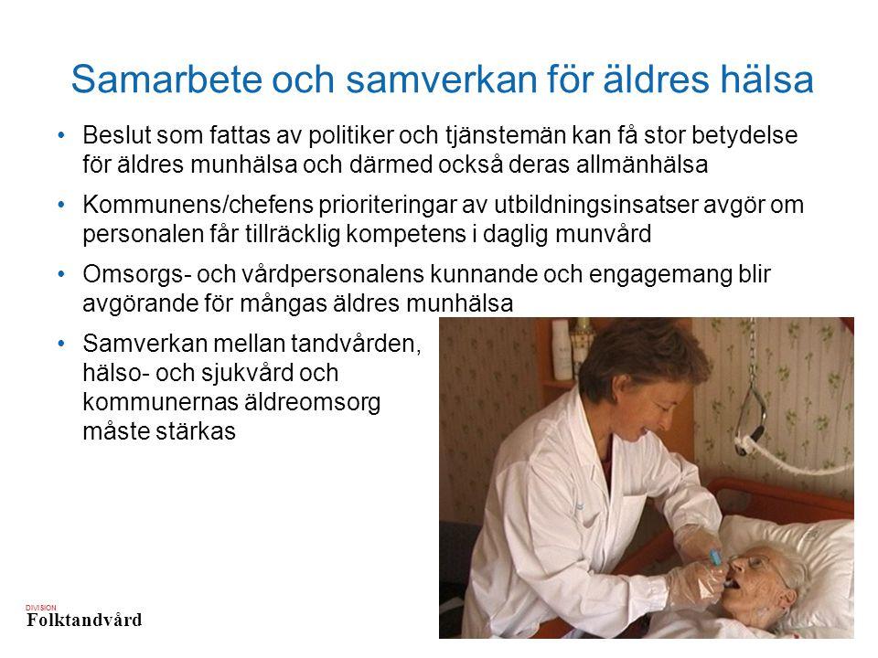 DIVISION Folktandvård Samarbete och samverkan för äldres hälsa Beslut som fattas av politiker och tjänstemän kan få stor betydelse för äldres munhälsa och därmed också deras allmänhälsa Kommunens/chefens prioriteringar av utbildningsinsatser avgör om personalen får tillräcklig kompetens i daglig munvård Omsorgs- och vårdpersonalens kunnande och engagemang blir avgörande för mångas äldres munhälsa Samverkan mellan tandvården, hälso- och sjukvård och kommunernas äldreomsorg måste stärkas