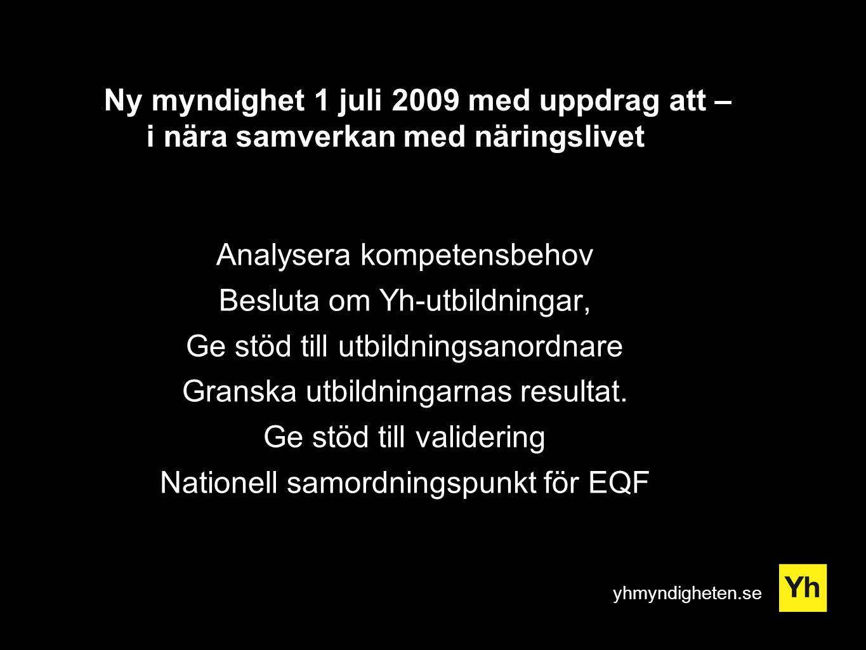 yhmyndigheten.se Ny myndighet 1 juli 2009 med uppdrag att – i nära samverkan med näringslivet Analysera kompetensbehov Besluta om Yh-utbildningar, Ge stöd till utbildningsanordnare Granska utbildningarnas resultat.