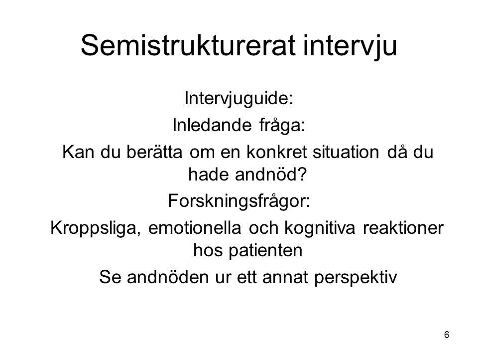 6 Semistrukturerat intervju Intervjuguide: Inledande fråga: Kan du berätta om en konkret situation då du hade andnöd.