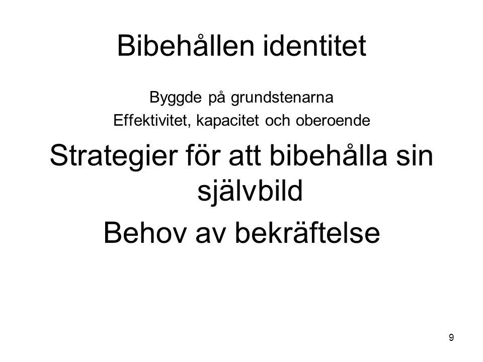 9 Bibehållen identitet Byggde på grundstenarna Effektivitet, kapacitet och oberoende Strategier för att bibehålla sin självbild Behov av bekräftelse
