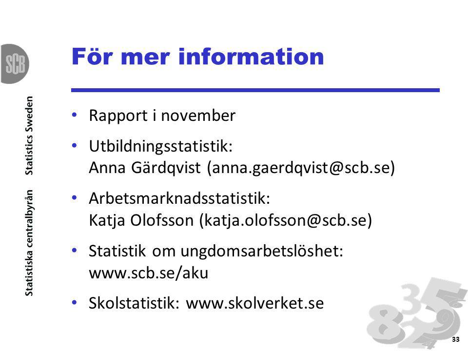 För mer information Rapport i november Utbildningsstatistik: Anna Gärdqvist (anna.gaerdqvist@scb.se) Arbetsmarknadsstatistik: Katja Olofsson (katja.olofsson@scb.se) Statistik om ungdomsarbetslöshet: www.scb.se/aku Skolstatistik: www.skolverket.se 33
