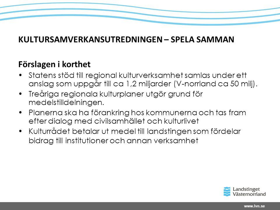 www.lvn.se KULTURSAMVERKANSUTREDNINGEN – SPELA SAMMAN Förslagen i korthet Statens stöd till regional kulturverksamhet samlas under ett anslag som uppgår till ca 1,2 miljarder (V-norrland ca 50 milj).