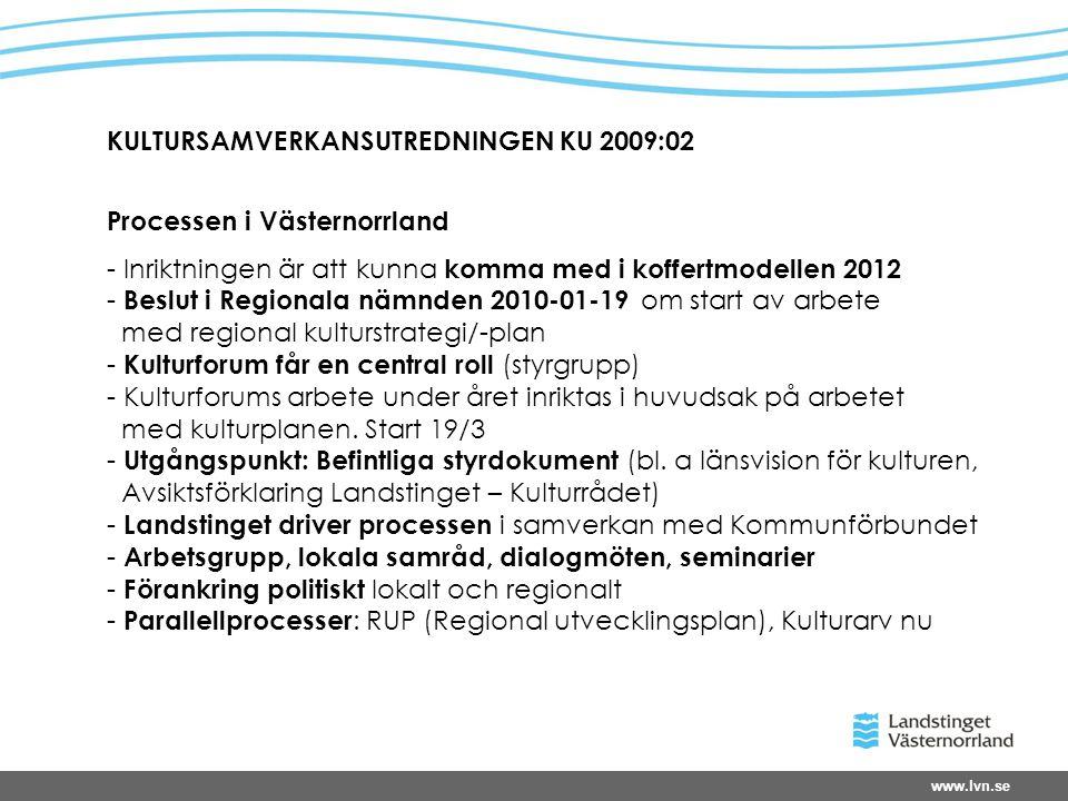www.lvn.se KULTURSAMVERKANSUTREDNINGEN KU 2009:02 Processen i Västernorrland - Inriktningen är att kunna komma med i koffertmodellen 2012 - Beslut i Regionala nämnden 2010-01-19 om start av arbete med regional kulturstrategi/-plan - Kulturforum får en central roll (styrgrupp) - Kulturforums arbete under året inriktas i huvudsak på arbetet med kulturplanen.