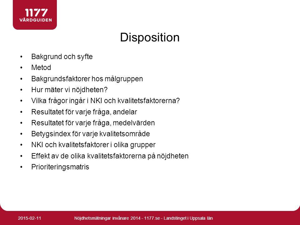 Frågor för Nöjd kund index (NKI) Nöjdhetsmätningar invånare 2014 - 1177.se - Landstinget i Uppsala län2015-02-11