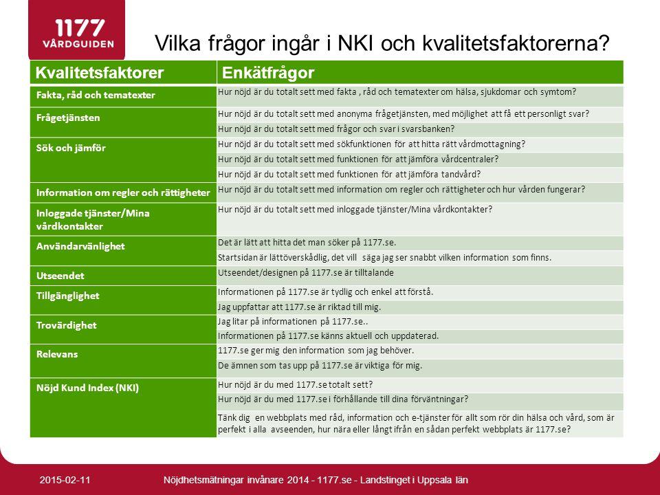 Fakta, råd och tematexter samt Frågetjänsten Nöjdhetsmätningar invånare 2014 - 1177.se - Landstinget i Uppsala län2015-02-11