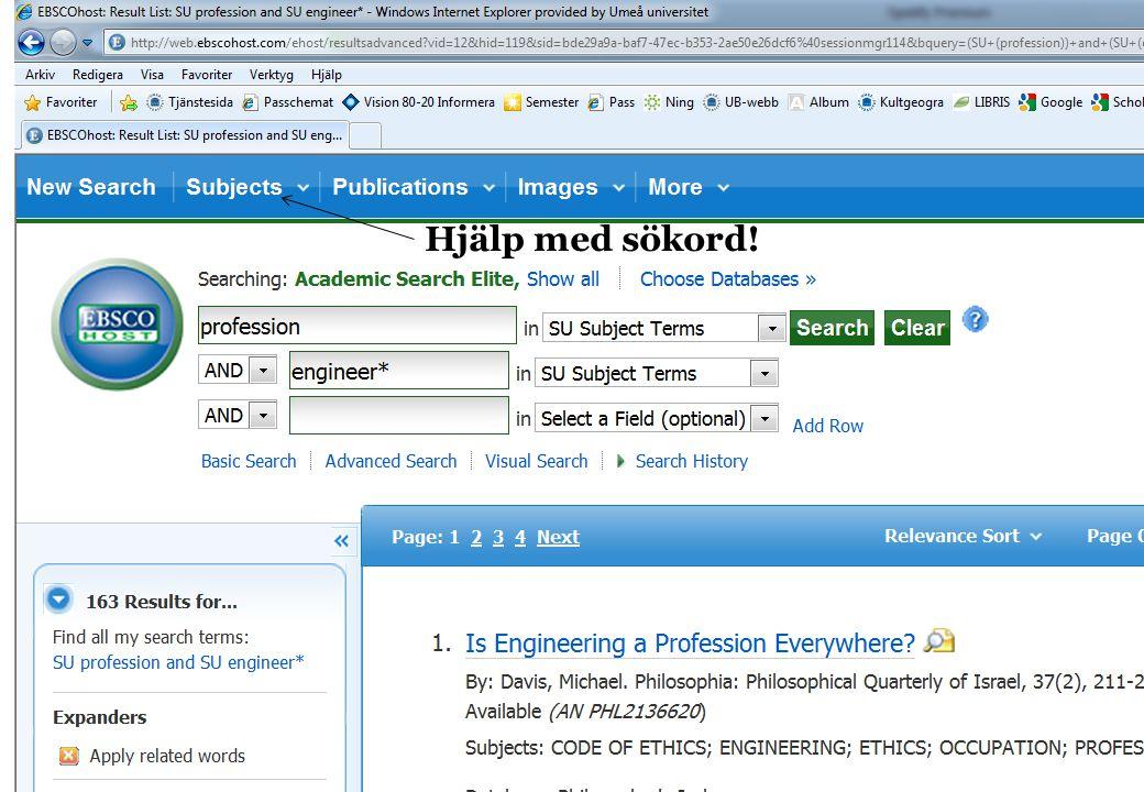 Hjälp med sökord! Peer-reviewd (vetenskapligt granskade)