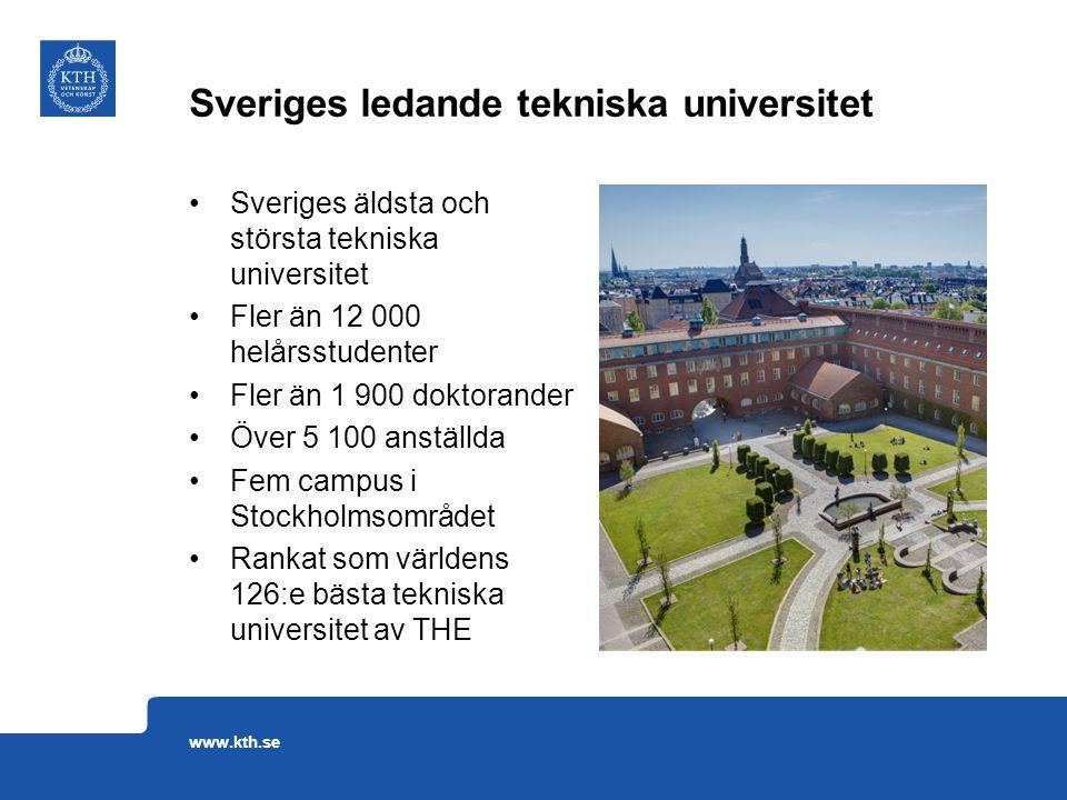 Sveriges äldsta och största tekniska universitet Fler än 12 000 helårsstudenter Fler än 1 900 doktorander Över 5 100 anställda Fem campus i Stockholms