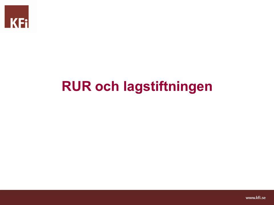 Bakgrund Finanskris och inlåsningseffekter Lösningen blev RUR –Instrument för att jämna ut skatteintäkterna över en konjunkturcykel –Bidra till att skapa stabilare planeringsförutsättningar för verksamheterna Fr.o.m.