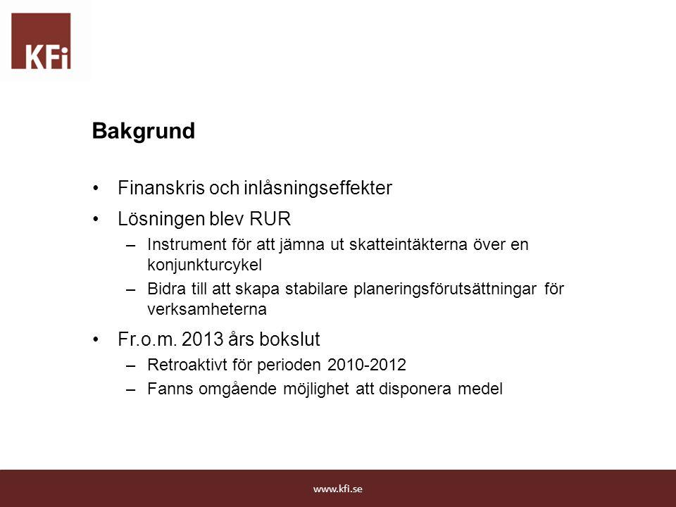 Bakgrund Finanskris och inlåsningseffekter Lösningen blev RUR –Instrument för att jämna ut skatteintäkterna över en konjunkturcykel –Bidra till att sk