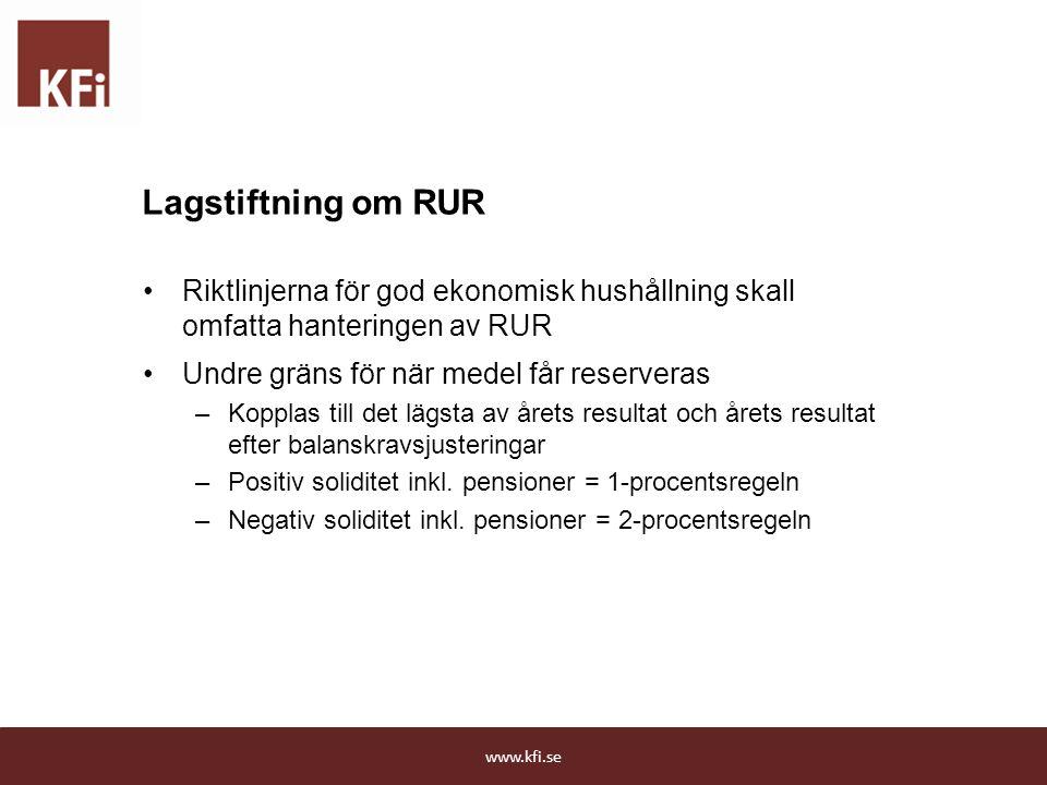 Lagstiftning om RUR Riktlinjerna för god ekonomisk hushållning skall omfatta hanteringen av RUR Undre gräns för när medel får reserveras –Kopplas till