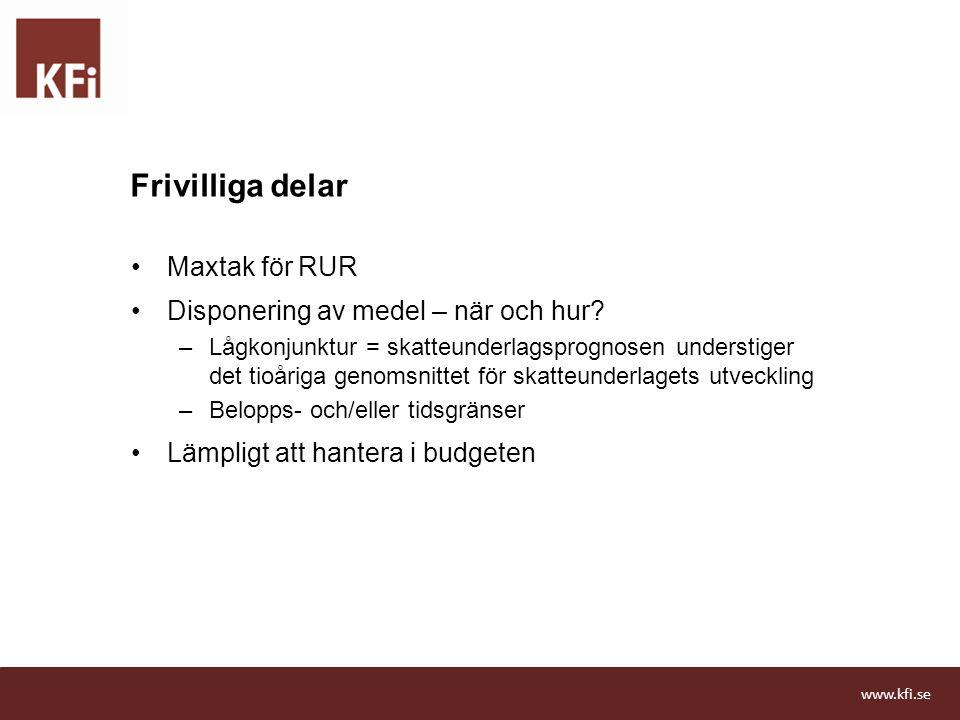 Frivilliga delar Maxtak för RUR Disponering av medel – när och hur? –Lågkonjunktur = skatteunderlagsprognosen understiger det tioåriga genomsnittet fö