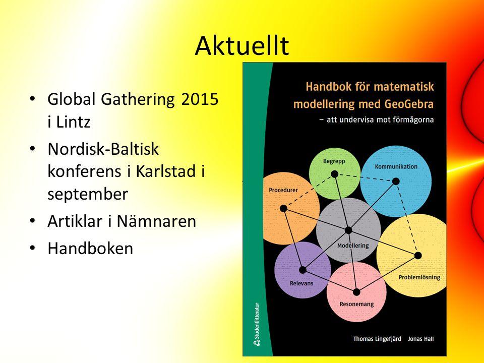 Aktuellt Global Gathering 2015 i Lintz Nordisk-Baltisk konferens i Karlstad i september Artiklar i Nämnaren Handboken