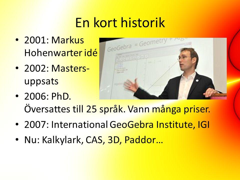 En kort historik 2001: Markus Hohenwarter idé 2002: Masters- uppsats 2006: PhD.