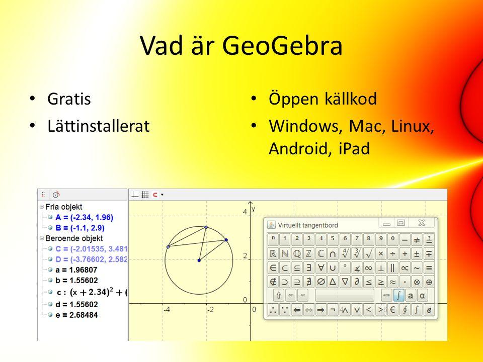 Vad är GeoGebra Gratis Lättinstallerat Öppen källkod Windows, Mac, Linux, Android, iPad