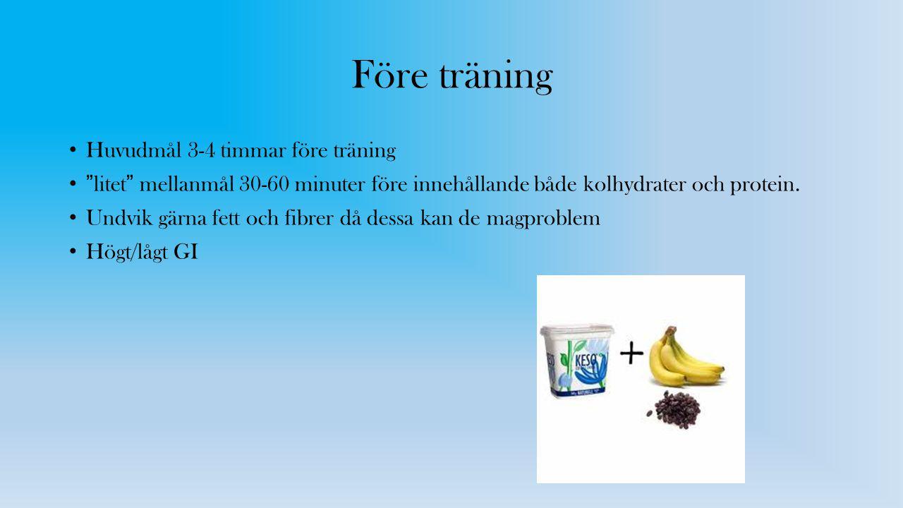"""Före träning Huvudmål 3-4 timmar före träning """"litet"""" mellanmål 30-60 minuter före innehållande både kolhydrater och protein. Undvik gärna fett och fi"""
