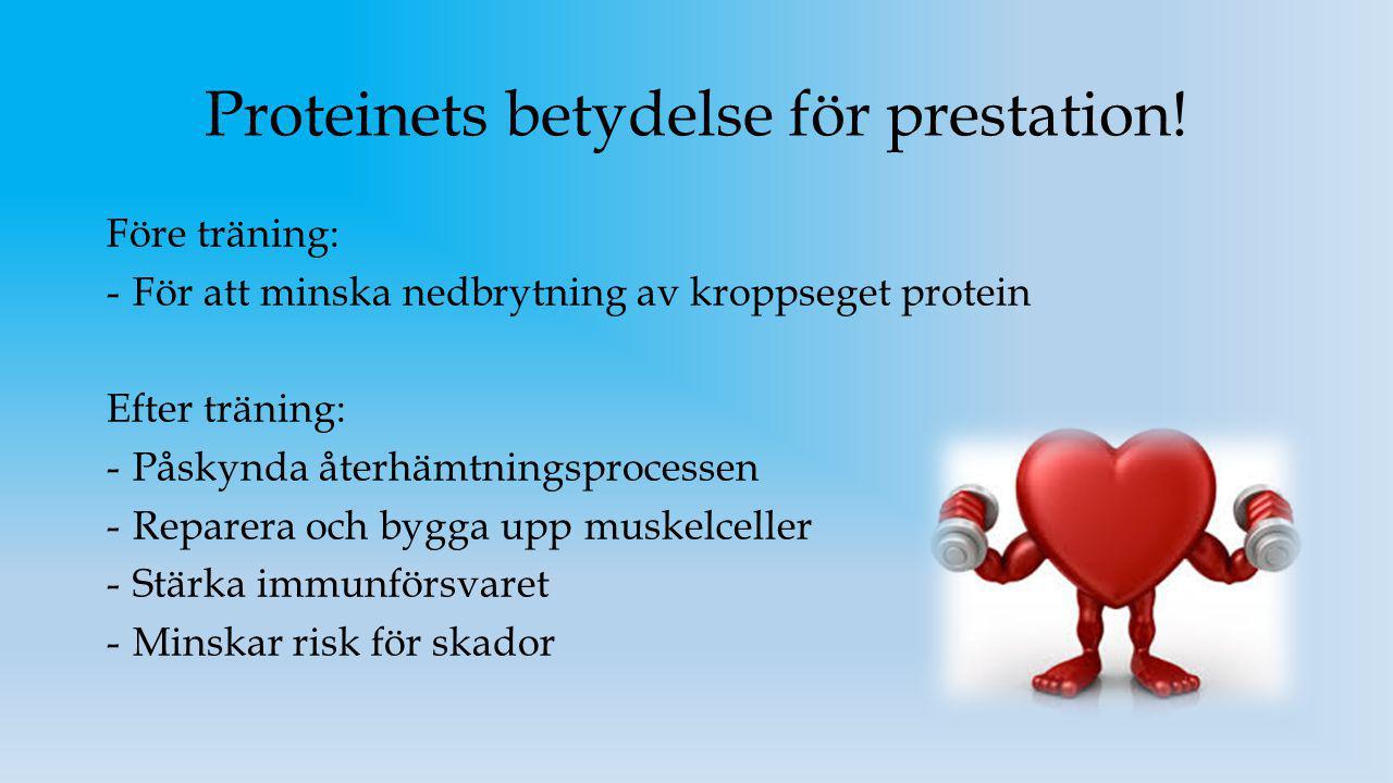 Proteinets betydelse för prestation! Före träning: -För att minska nedbrytning av kroppseget protein Efter träning: -Påskynda återhämtningsprocessen -
