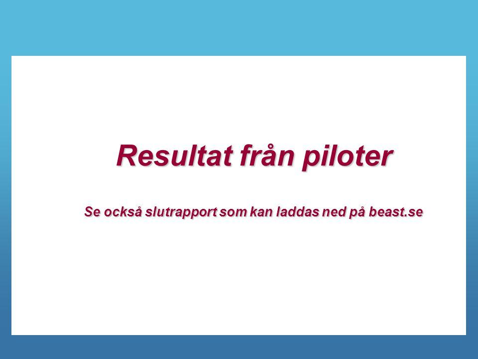 Resultat från piloter Se också slutrapport som kan laddas ned på beast.se