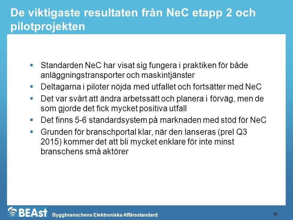 Byggbranschens Elektroniska Affärsstandard De viktigaste resultaten från NeC etapp 2 och pilotprojekten 18  Standarden NeC har visat sig fungera i pr