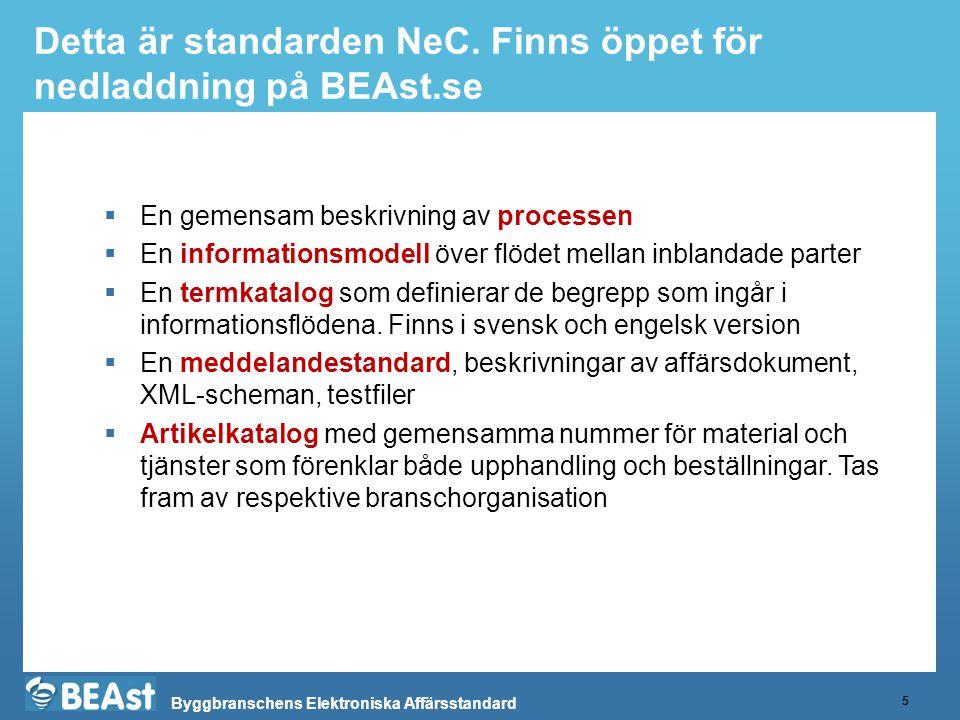 Byggbranschens Elektroniska Affärsstandard Detta är standarden NeC. Finns öppet för nedladdning på BEAst.se 5  En gemensam beskrivning av processen 